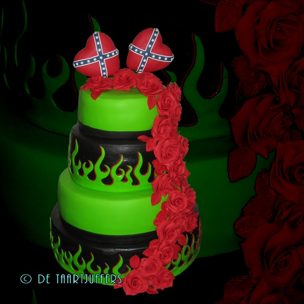 Wedding Cake With Green Flames