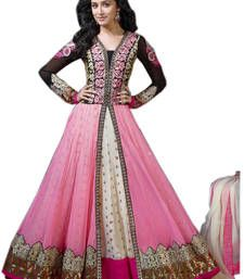 Buy Pink Embroidery Work Georgeete semi stitched salwar with dupatta party-wear-salwar-kameez online