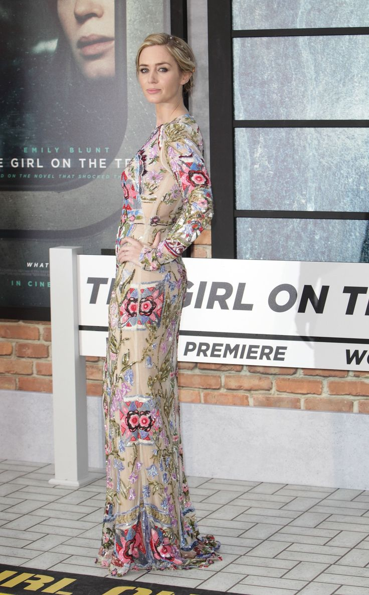 Emily Blunt in embellished Alexander McQueen at 'The Girl On The Train' world premiere at Odeon Leicester Square in London, England, September 20, 2016.