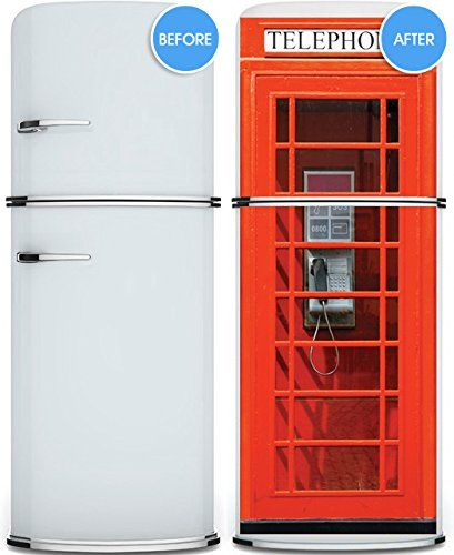 Door wall fridge vinyl sticker or not sticky paper london telephone box phone booth poster 30x80