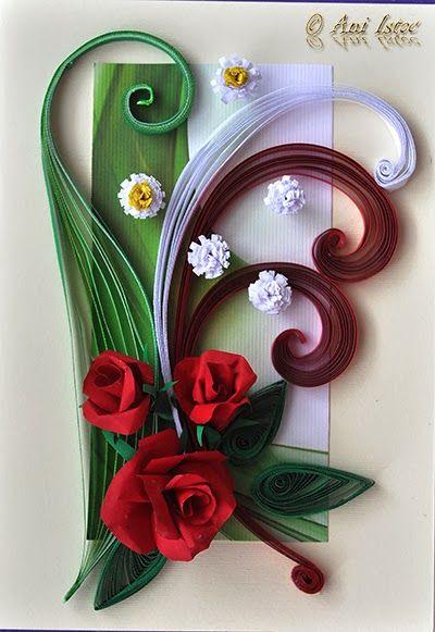 Printre hobby-uri: quilling, kusudama, origami, bijuterii handmade...: Card quilling - Red roses