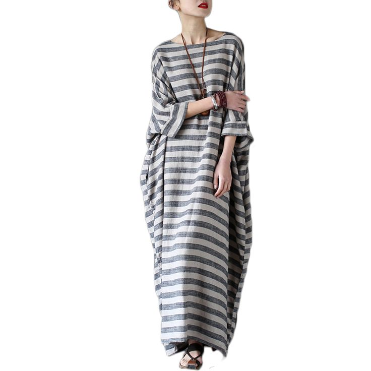 Cheap maxi dress, Buy Quality long maxi dress directly from China summer dress Suppliers: Vestidos Mujer 2017 Women Spring Summer Dress Vintage Cotton Linen Striped Women Loose Casual Long Maxi Dress Robe Party Dresses