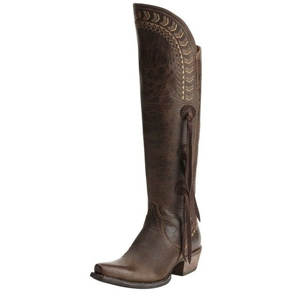 Ariat Womens Tallulah Pointed Toe Tall Cowgirl Boots Prairie ($230) ❤ liked on Polyvore featuring shoes, boots, western style boots, ariat boots, western cowboy boots, tan boots and knee high cowboy boots