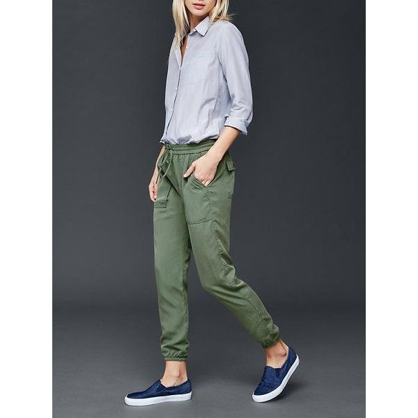 Gap Women Tencel Utility Jogger (1.336.735 VND) ❤ liked on Polyvore featuring activewear, activewear pants, cool olive and tall