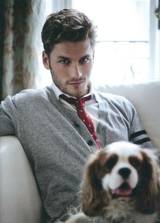Men's Red Print Tie, White Dress Shirt, and Grey Cardigan