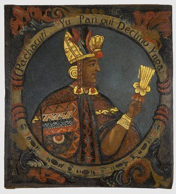 5/ HORIZON RÉCENT. INCA.  Portrait de Pachacuti :aurait lancé le remodelage de la capitale, réorganise tout le centre, forme de puma. Construction massive de canaux d'irrigation, de palais et de places qui vont marquer le paysage inca. Réseau routier Tapaq Nian, rénové et agrandi par les successeurs ; réseau de 40 000 km, facile le déplacement des armées, des représentants de l'Inca et des denrées. Le culte du soleil, Inti, devient religion d'État. Souverain = fils du soleil
