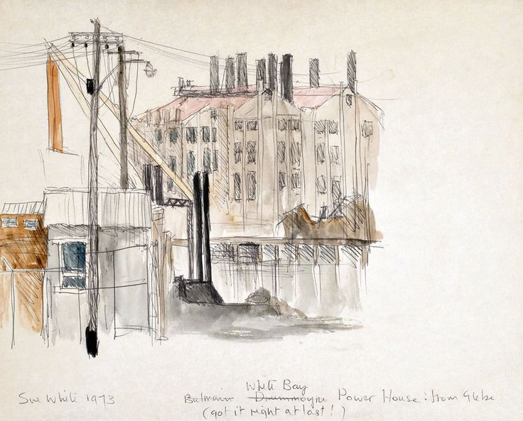 White Bay Power Station, view across Rozelle Bay from Glebe Point; timber mill with derrick crane in foreground 1973 watercolour and ballpoint 20 x 25 cm by © Susan Dorothea White