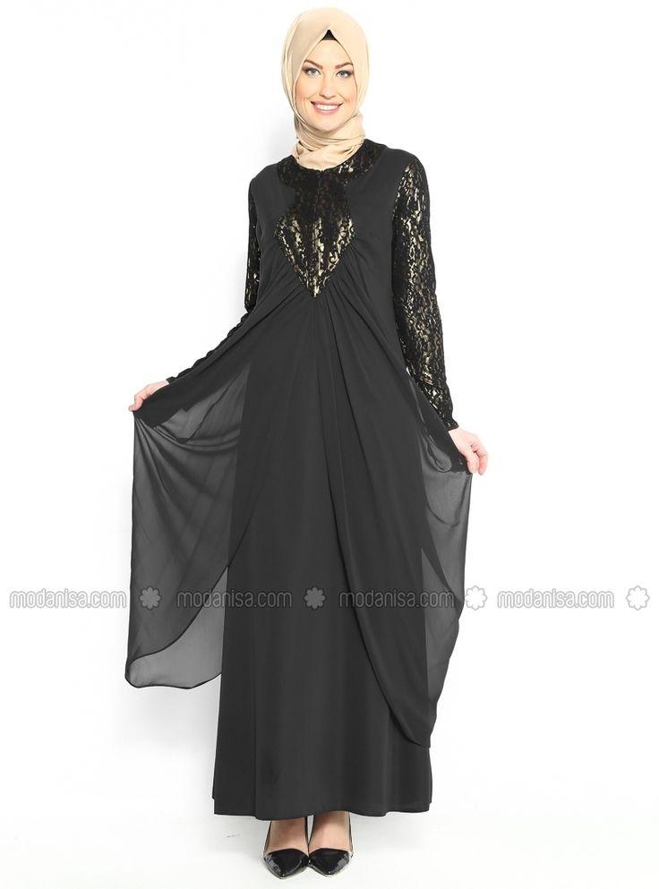 Çiçek Desenli Abiye Elbise - Siyah - Seden