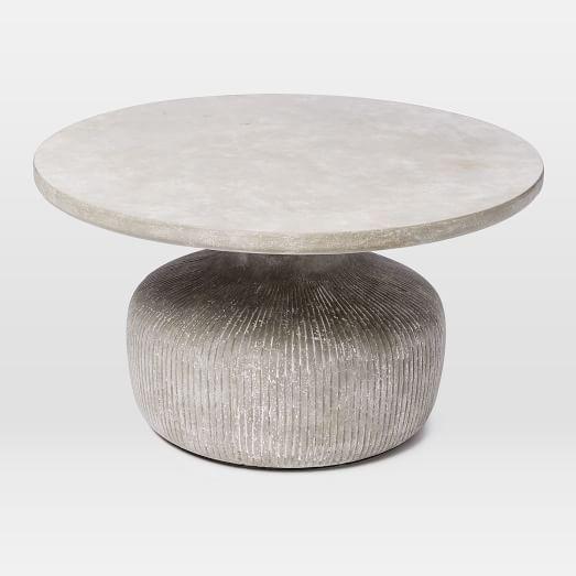 Tambor Concrete Outdoor Drum Coffee Table | west elm