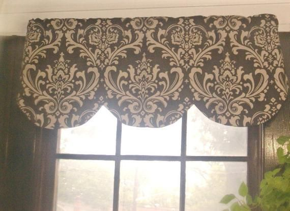 42 x 16 inches RTS Lined scallop valance ozborne grey and white damask,