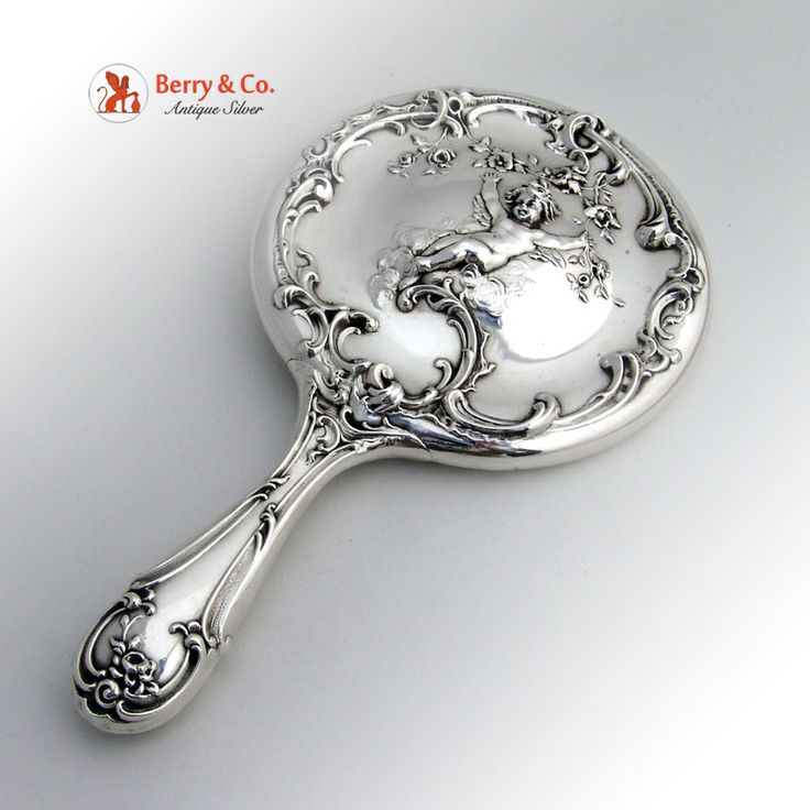 Hand Mirror Sterling Silver Cherub Decoration Mauser 1900