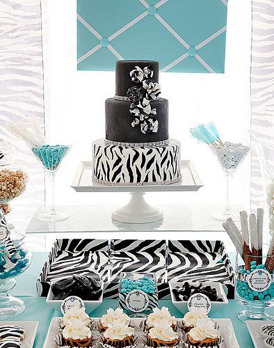 zebra + tiffany blue: Zebras Cakes, Theme Parties, Tiffany Blue Wedding, Shower Cakes, Wedding Cakes, Blue Cakes, Bridal Shower, Wedding Theme, Blue Zebras Prints Cakes