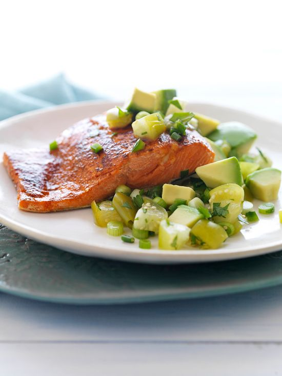 Chili Rubbed Salmon with Cilantro Avocado Salsa by Matt at Mattbites.com