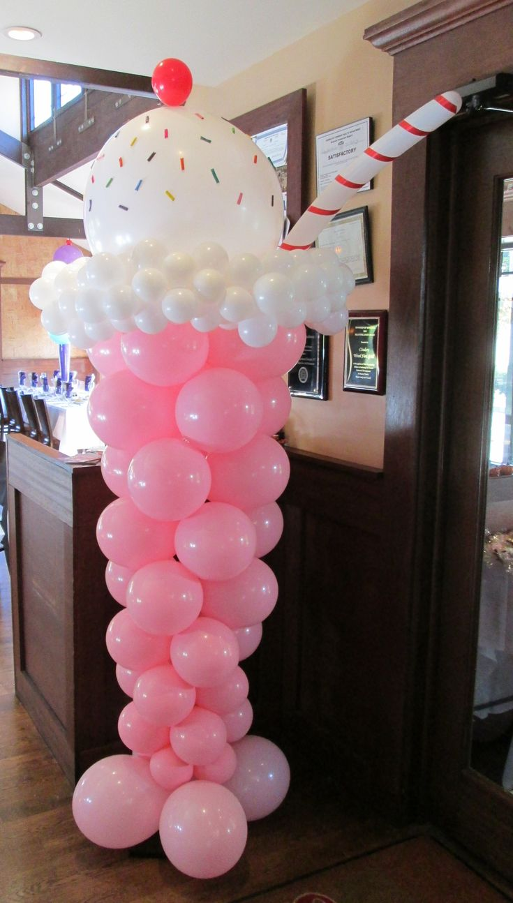 Giant ice cream soda balloon sculpture by www.Total-Party.com.  Great for ice cream theme party or candy theme party.