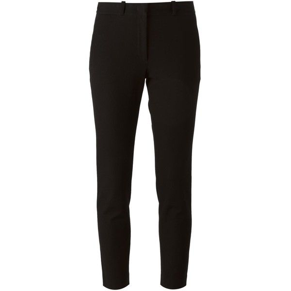 Joseph Cropped Slim Fit Trousers ($344) ❤ liked on Polyvore featuring pants, capris, bottoms, trousers, black, joseph pants, slim pants, black pants, crop pants and slim trousers