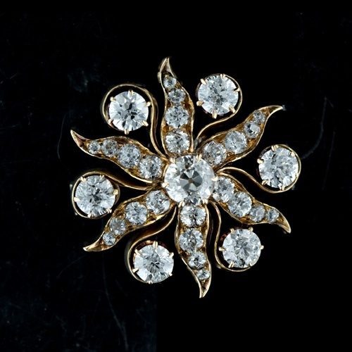 Victorian Diamond Starburst Pin/Pendant