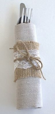 burlap napkin ring with lace and twine