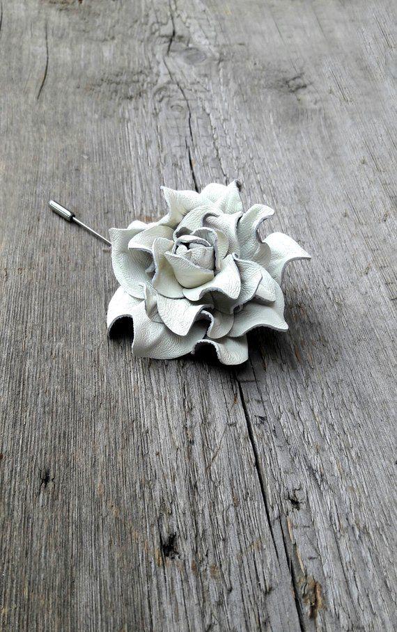4da7ba577421e Ivory lapel pin - Men lapel flower - Leather Flowers - Rose Pin ...