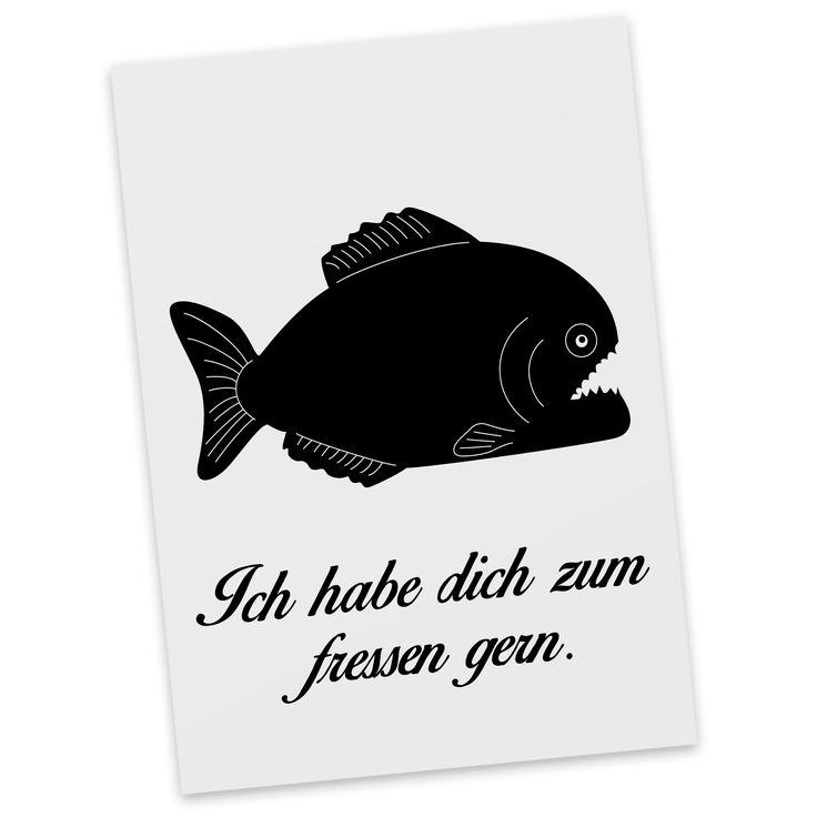 Postkarte Piranha aus Karton 300 Gramm  weiß - Das Original von Mr. & Mrs. Panda.  Diese wunderschöne Postkarte aus edlem und hochwertigem 300 Gramm Papier wurde matt glänzend bedruckt und wirkt dadurch sehr edel. Natürlich ist sie auch als Geschenkkarte oder Einladungskarte problemlos zu verwenden. Jede unserer Postkarten wird von uns per hand entworfen, gefertigt, verpackt und verschickt.    Über unser Motiv Piranha  Piranhas sind gefürchtete Raubfische. Sie lieben die Farbe rot und können…