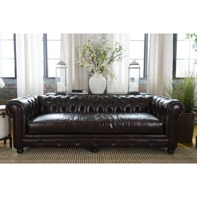 elements fine home furnishings estate top grain leather sofa in saddle