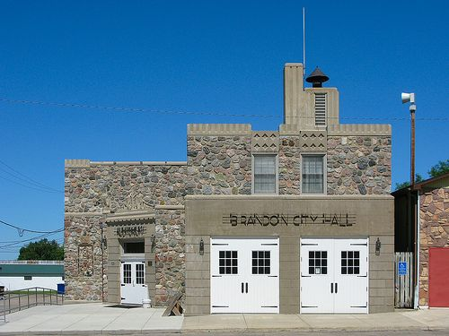 Brandon City Hall The Holmes Avenue elevation of the joint City Hall, Fire Hall, and Auditorium for the city of Brandon, Minnesota. The rus...