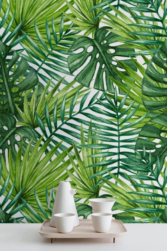 Watercolor Tropical Palm Leaves Wallpaper by WallfloraShop on Etsy