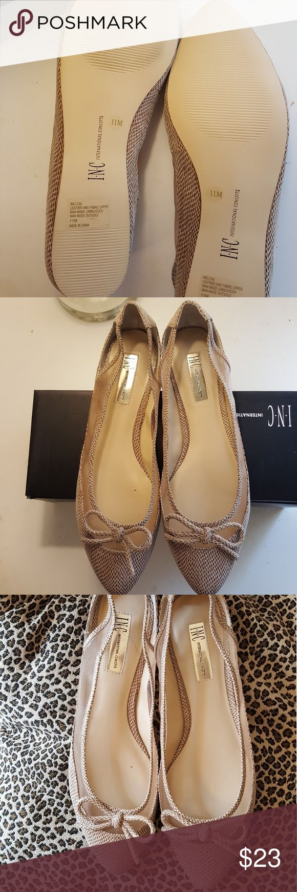 Inc international concepts snakeskin nude flats Inc international concepts snakeskin  tan nude flats with cut out and mesh detail.   11m  New in box INC International Concepts Shoes Flats & Loafers
