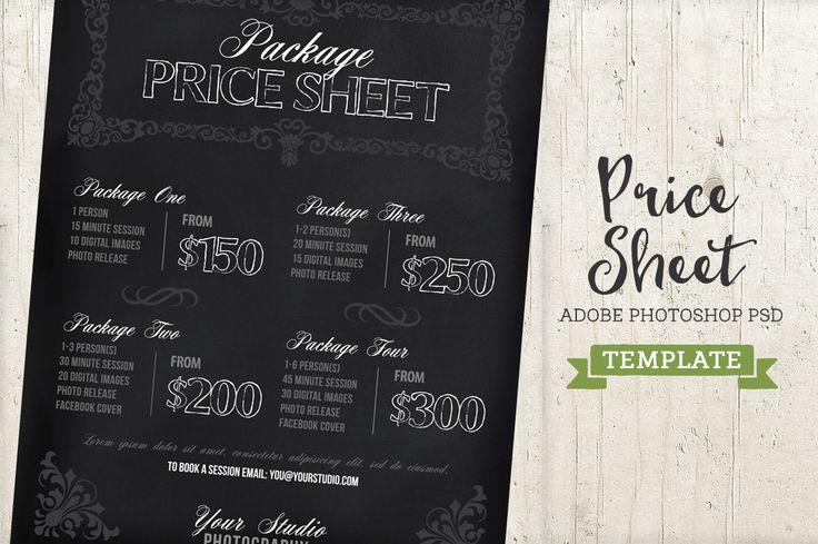 Chalkboard Price List Sheet Template by Studio29 on @creativemarket