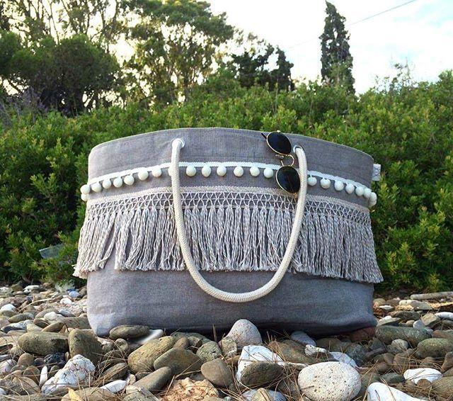 Pompoms and vessels on the beach... 'Breeze' summer bag with white pompoms #breeze #summerbag #seabag #canvasbag #pompom #vessels #fringes #ropes #summermood #summer #summeringreece #beachstyle  #summerstyle #handmadeingreece #newdesign #salt #sun #sunset #greekislands