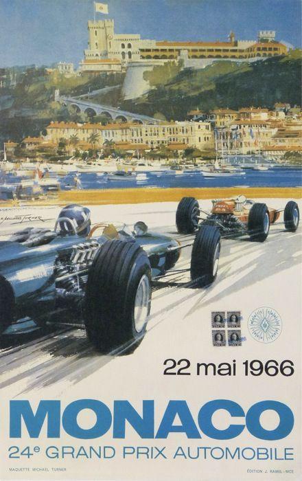 grand prix automobile de monaco 1966 : 1966 affiches anciennes de TURNER