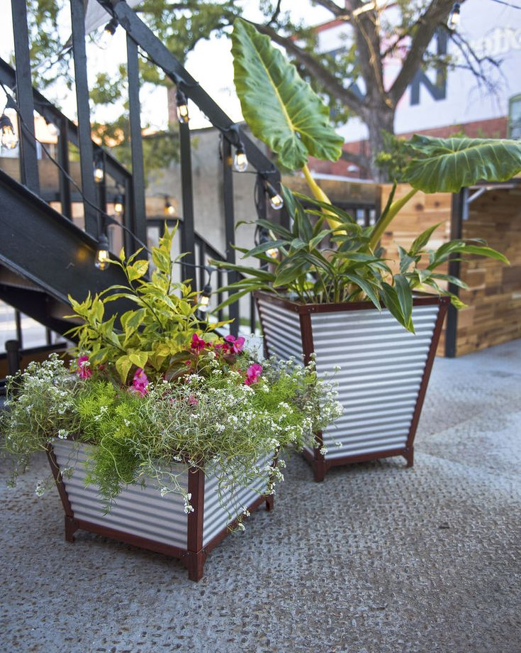 Galvanized Self-Watering Planters - Tall Corrugated Metal Planters