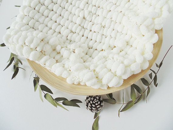 Creamy White Fluffy Pompon Baby Blanket for Christmas or