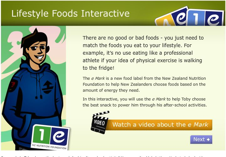 Can you help Toby choose the best snack for his after-school activity? Use a new food label, the e Mark, to help decide.