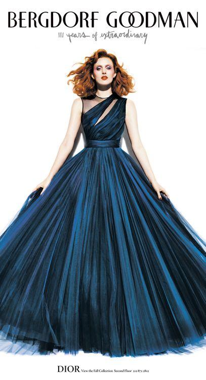 Midnight blue gown by Dior. Worn by Karen Elson. #BG111: Karen O'Neil, Fashion Dresses, Christian Dior, Karen Elson, Blue Gowns, Bergdorf Goodman, Dior Blue, Midnight Blue, Blue Dior