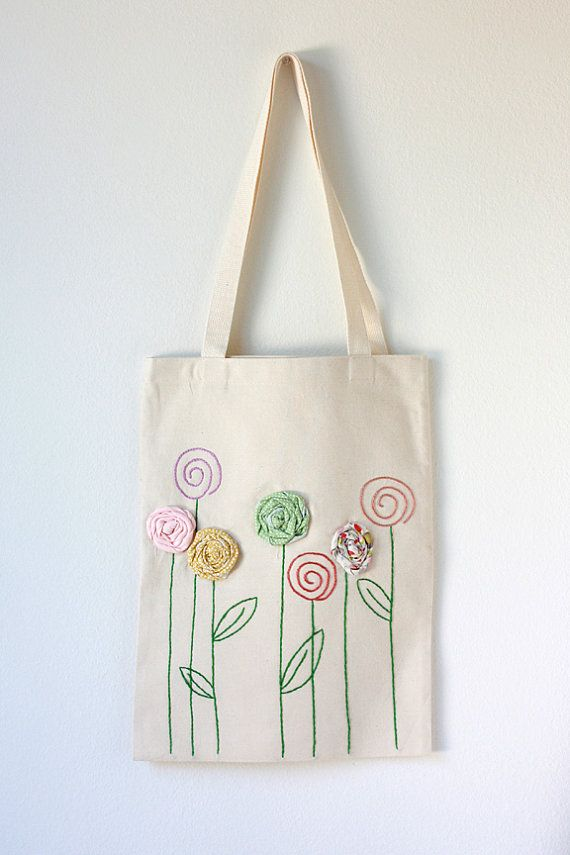 Embroidered Cotton Canvas Tote Bag with Fabric Flower Appliqué
