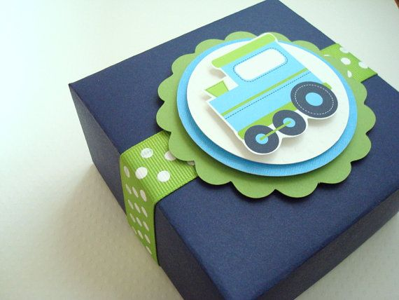 Blue Party Boxes | Birthday Train Favor Boxes, Navy Blue and Lime Green, Set of Ten by ...