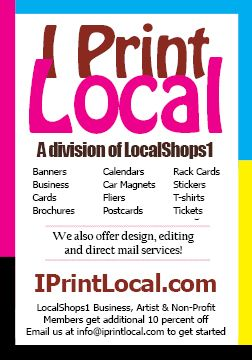 LocalShops1.com's Live Local! magazine will be unveiled at 7:05 pm Thu, June 12.  Admission is free, but registration is requested: http://www.localshops1.com/events/event_details.asp?id=421180&group