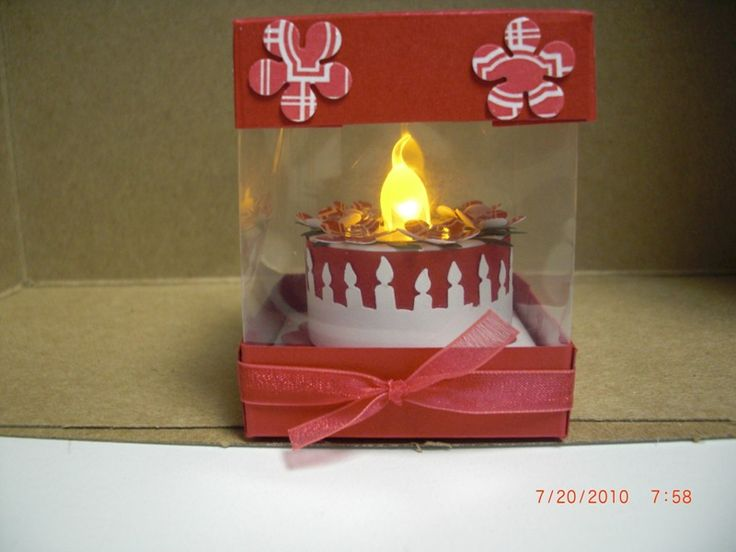Tea light cake in acetate box by AhDuckyInk - Cards and Paper Crafts at Splitcoaststampers