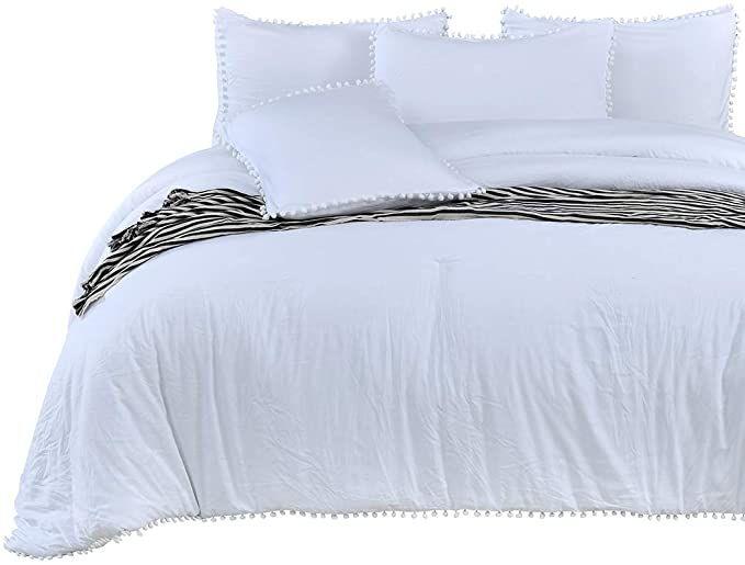 Amazon Com Sexytown White Pom Pom Fringe Comforter Set Stone Washed Brushed Soft Microfiber Inner Fill Comforter Sets Queen Comforter Sets Boho Chic Bedding