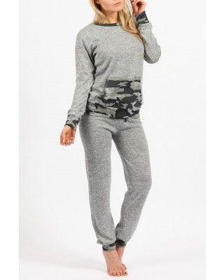 grey camouflage loungewear set