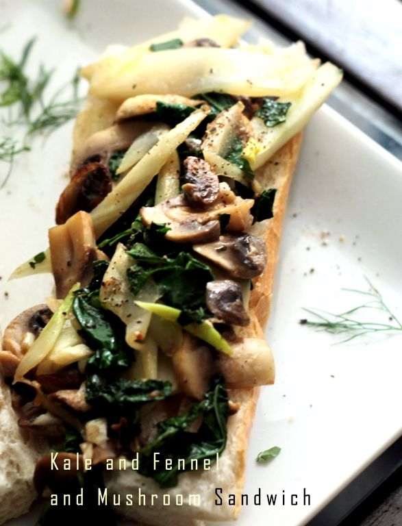 healthy vegan lunch: Kale Fennel Mushroom sandwich - so good! Peaceful ...