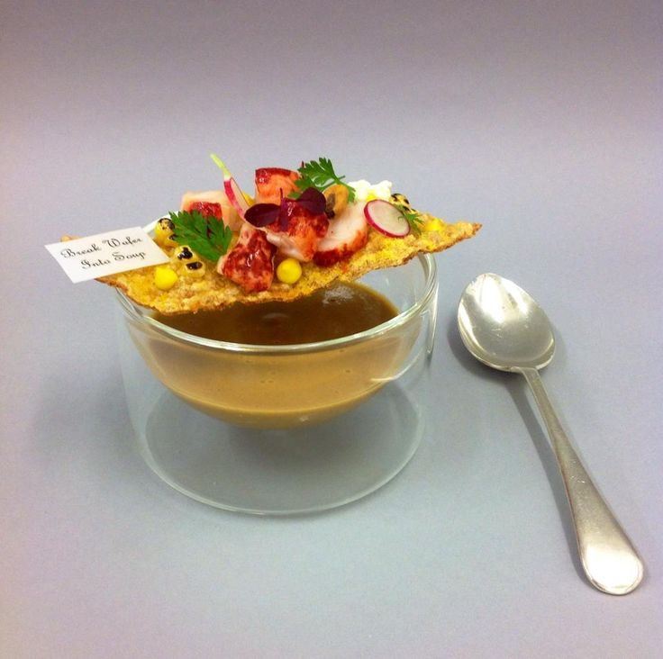 Lobster bisque with corn and lobster wafer