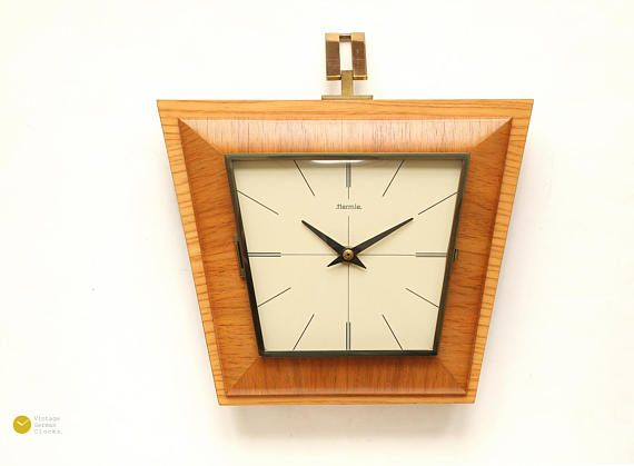 Superb 60s Hermle Wall Clock Mid Century Modern Danish Art Etsy Wall Clock Vintage Wall Clock Clock
