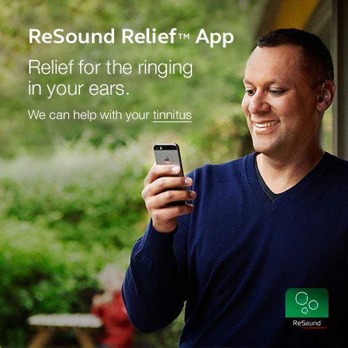 ReSound Relief App - Relief for the ringing in your ears. We can help with your tinnitus.  Visit resound.com/en-AU/hearing-aids/apps/relief-app