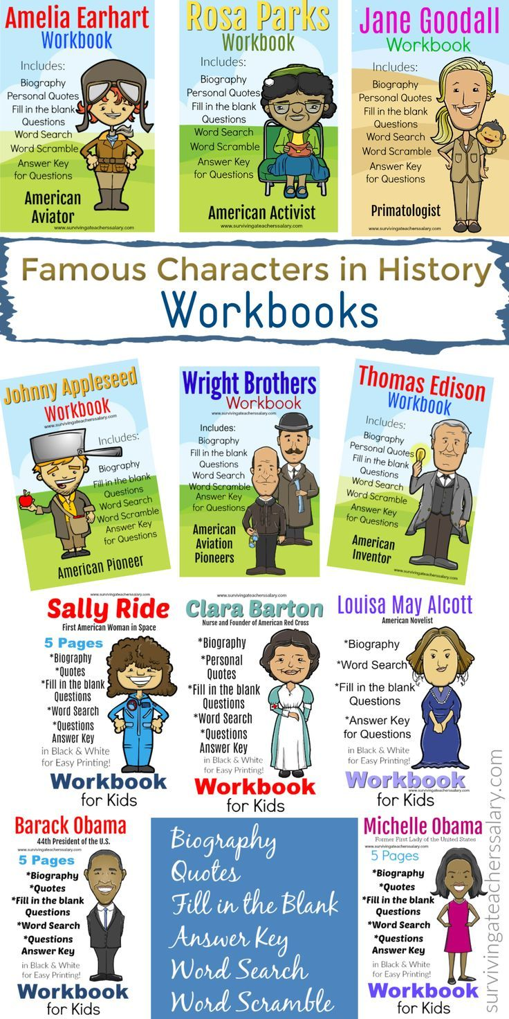 Famous People In History Workbook Worksheets For Teachers Homeschool Includes 11 Mini Work Famous People In History History Teacher Quote History For Kids