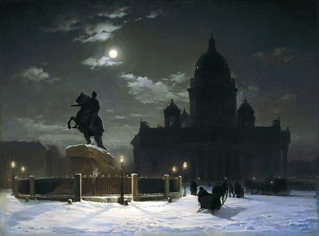 View of monument to Peter I on the Senate Square in St. Petersburg -                              Vasily Surikov,1870                              www.allart.biz