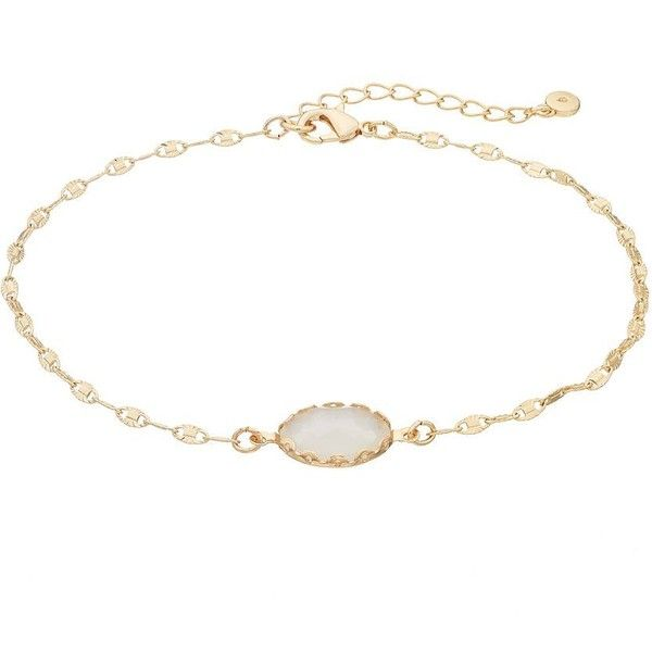 LC Lauren Conrad Oval Stone Anklet ($7.80) ❤ liked on Polyvore featuring jewelry, white, lc lauren conrad, nickel free jewelry, anklet jewelry, white jewelry and lc lauren conrad jewelry