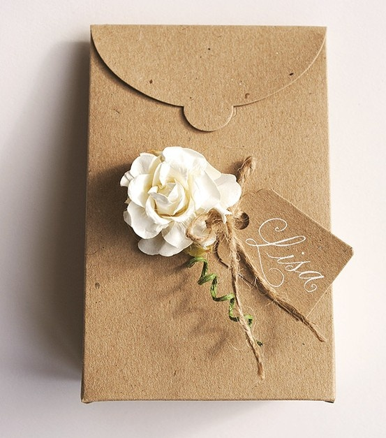 Rustic and charming wedding favour boxes or mini gift boxes - tapered with paper rose and calligraphy by Calligraphy-for-Weddings.com
