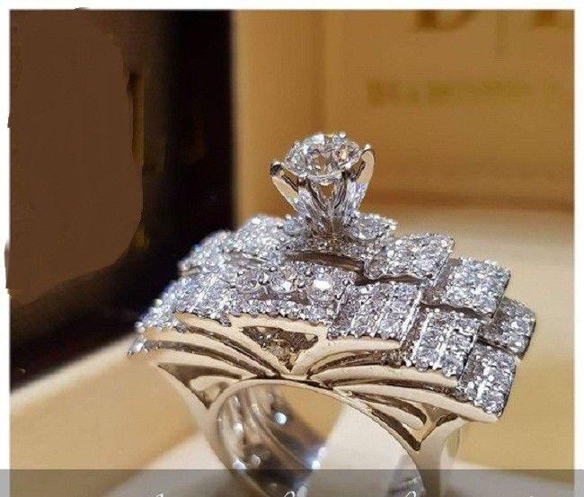 Ladies White Gold Over Diamond Engagement Rings Princess Wedding Bridal Sets
