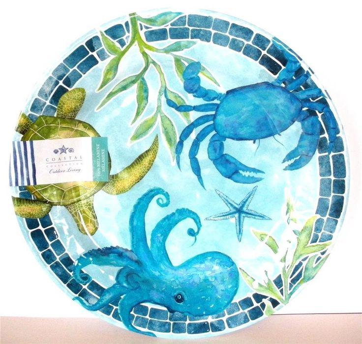 4  Dinner Plates Melamine Coastal Crabs Octopus Nautical Tropical Sea Turtle Set #CoastalCollection